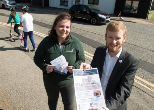 Emily Davie of Sustrans and Councillor Ross Grant