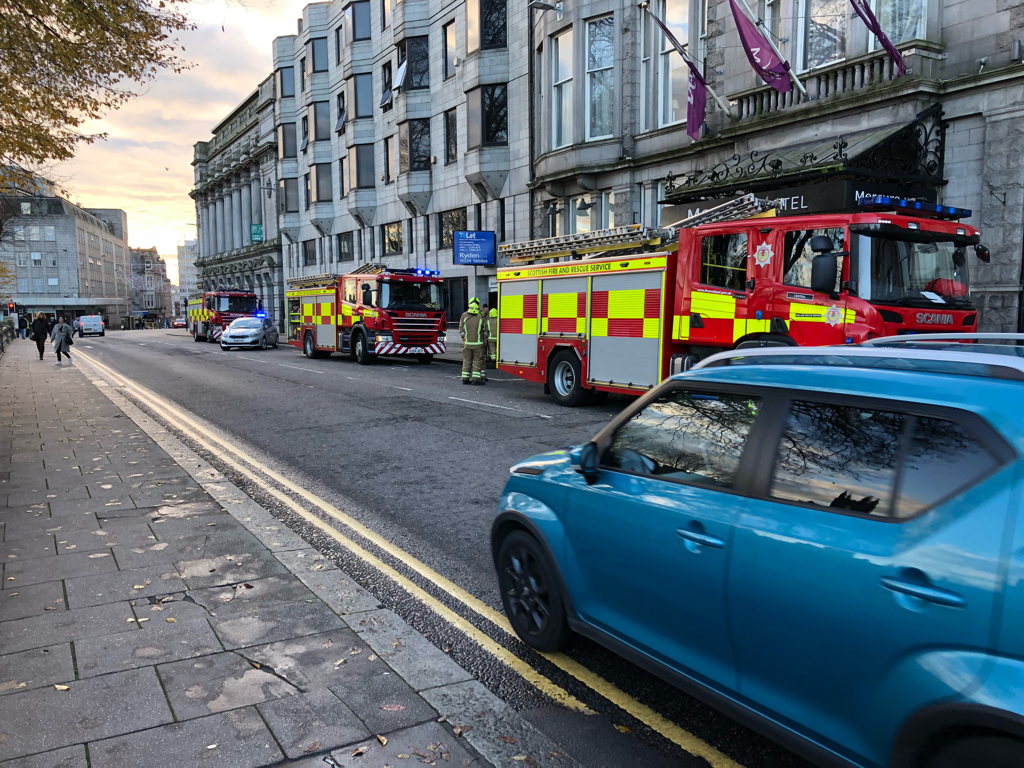 Crews were called to the Mercure hotel on Union Terrace at 9.08am