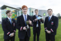 Reservoir Dogs, the winning team from Aberdeen Grammar School, are pictured at BP's North Sea headquarters with their STEM in the Pipeline 2018 award Matthew Oxley, Andrew Barlow, Job Derkson, Martin Aasterud and teacher Jennifer Smith