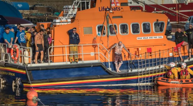 Dozens braved the cold water yesterday. Picture submitted by Fraserburgh RNLI