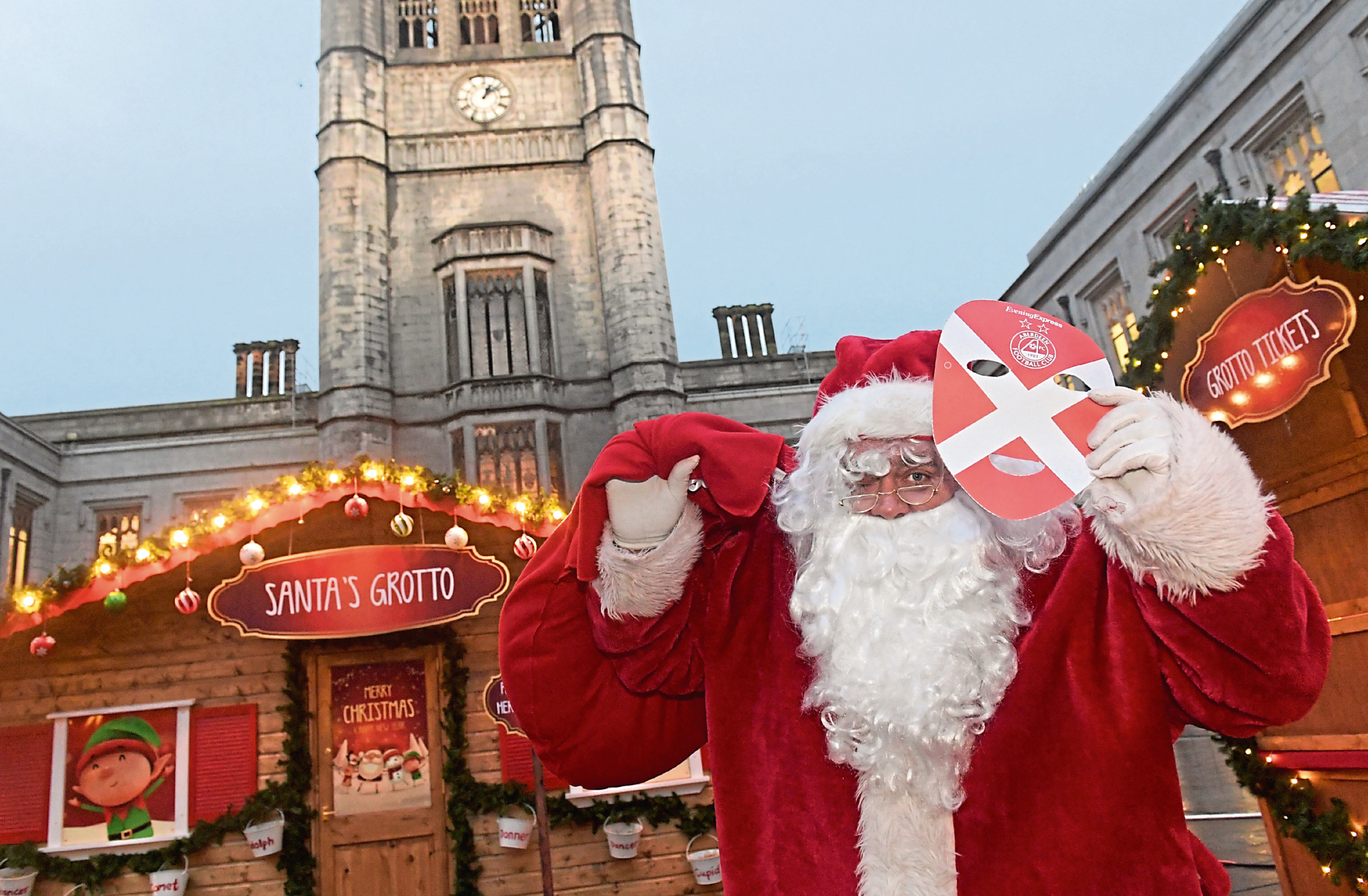 Santa is giving his support to the Dons on Sunday.
