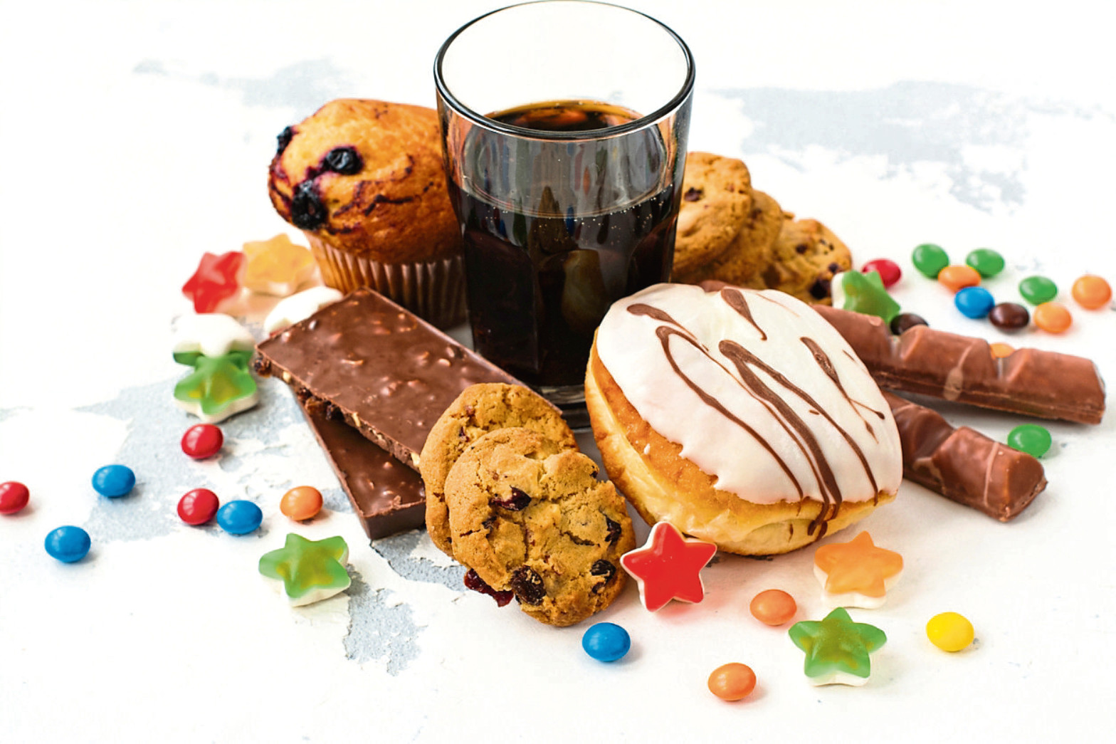 Assortment of products with high sugar level.