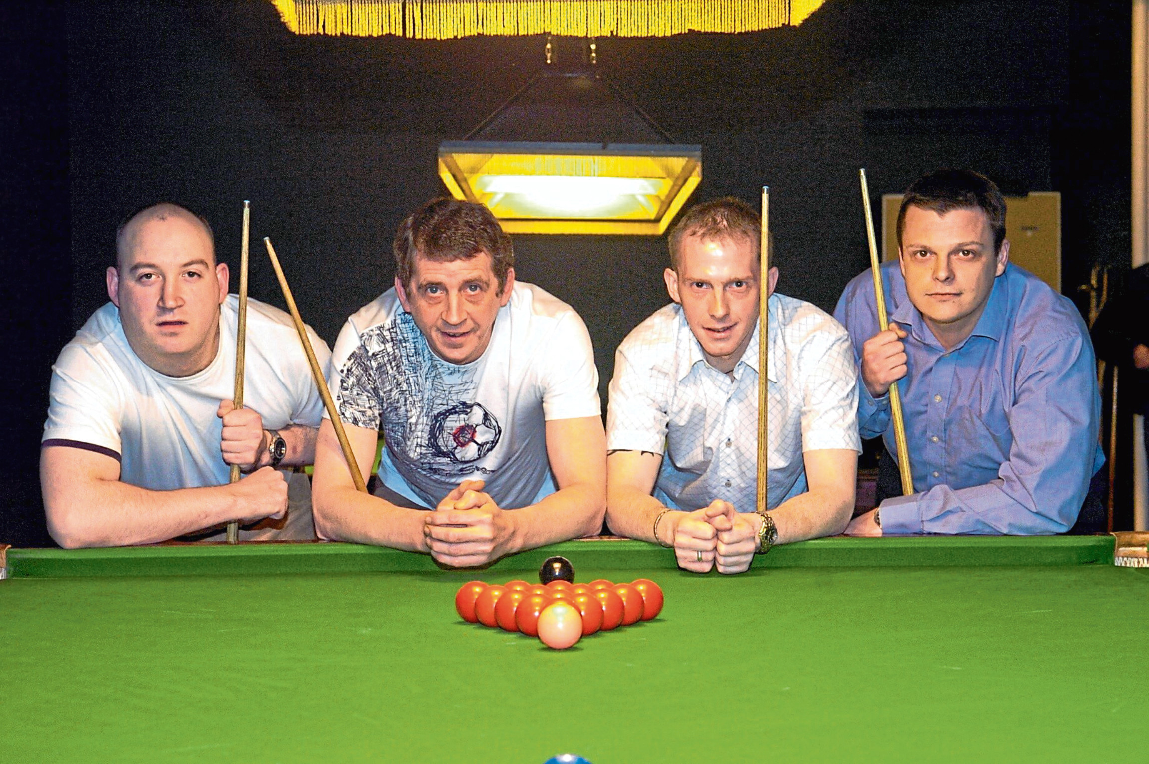 Derek Hearns, second left, pictured with, from left, Mark Oaten, Kevin Pirie, and Rene Taticek, was a seven-times North of Scotland champion.