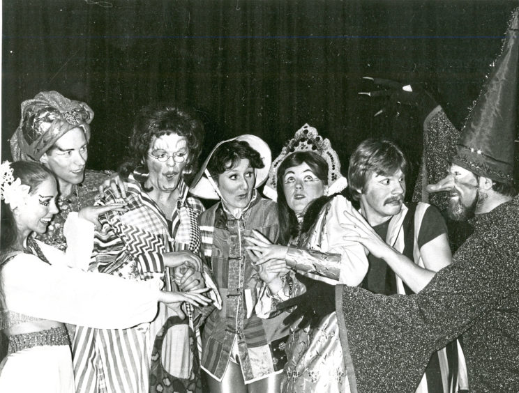 1990: Attic Theatre players go over their lines of Aladdin at their final dress rehearsal in the Arts Centre