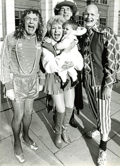 1985: When 11-month-old Louise Stephen had a little cry to herself, the stars of Dick Whittington joined in