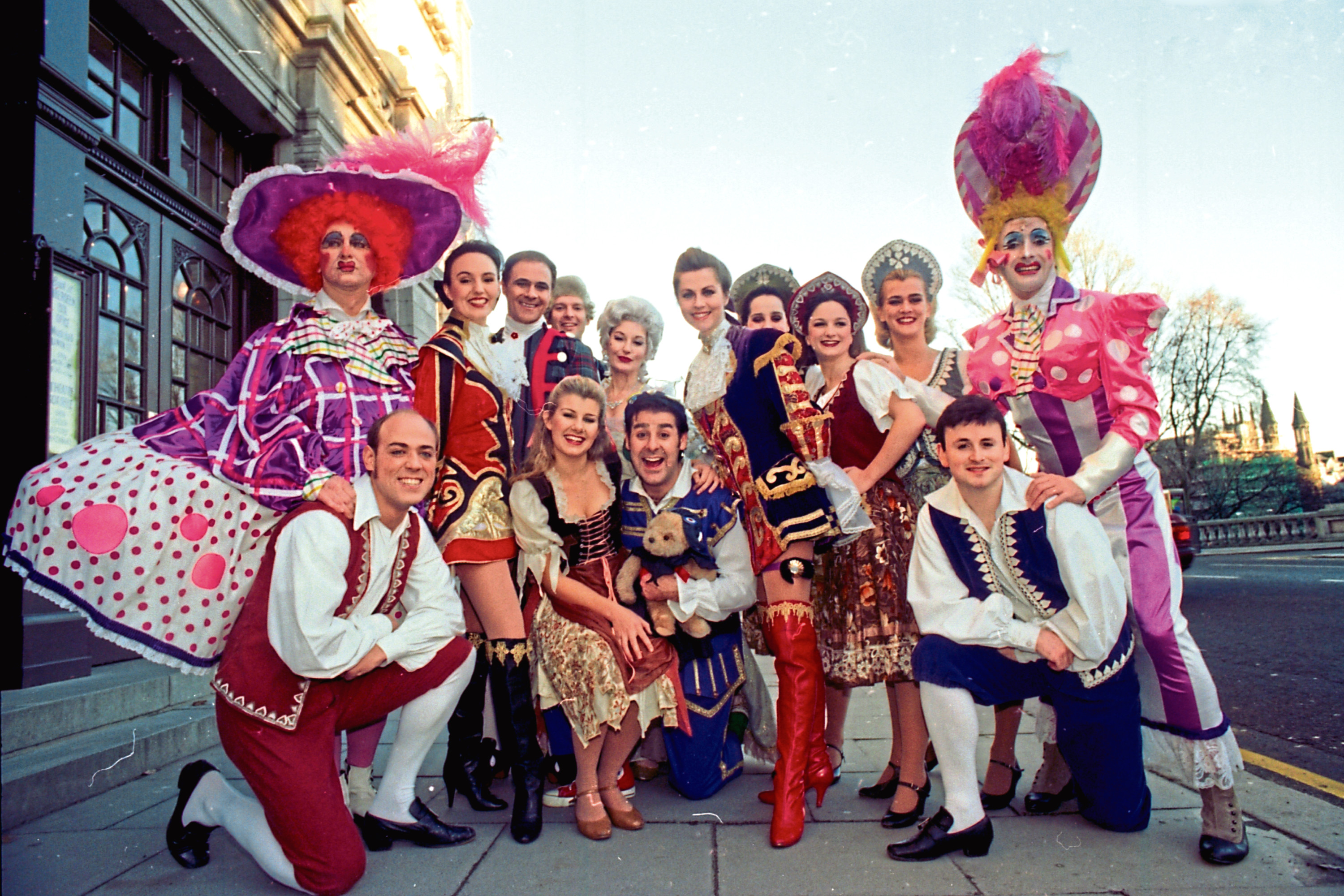 1996: The cast of Cinderella at His Majesty's Theatre are ready for their close up