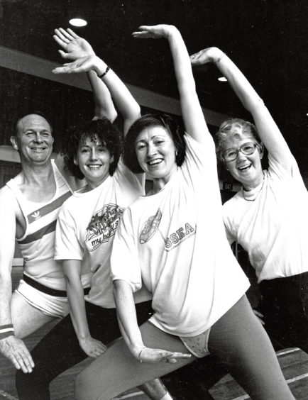 1988: Instructor Margaret Gray, front, with pupils Ronnie Strachan, Pat Simpson and Isobel Beattie at the Swedish Scottish Exercise Association class at Gilcomstoun Primary School
