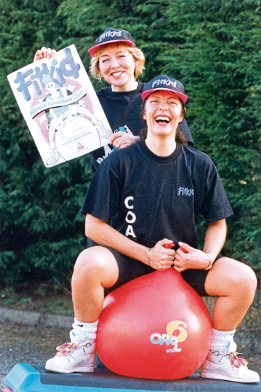1993: Fitness instructors and FitKid coaches Pat Clark, right, and Frances Rooney get ready to take their first fitness classes for children
