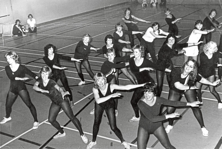 1982: Fitness fans get to grips with an aerobics session at Aboyne Community Centre. Aerobic dancing was first introduced to the area by an American woman in 1977