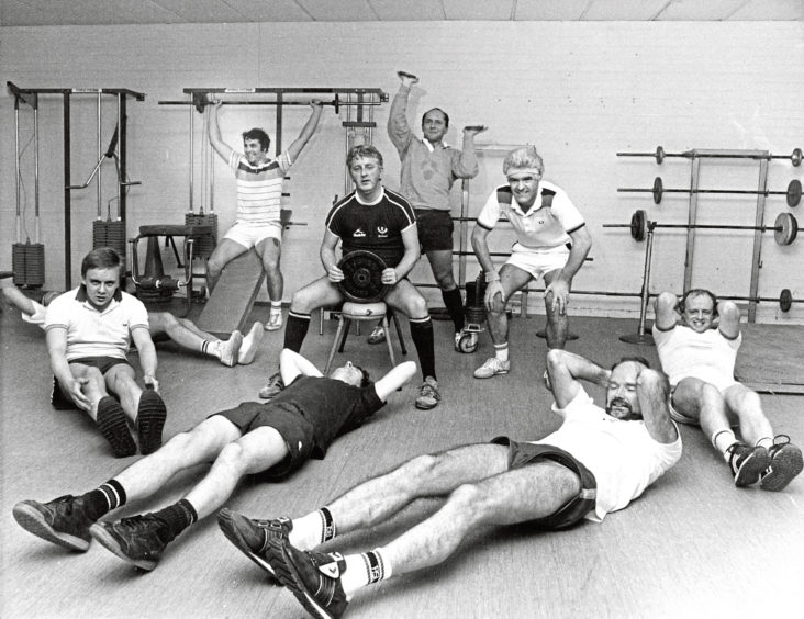 1986: The further education men's keep fit class at Ellon Academy pictured at circuit training