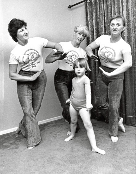 1983: Members of the Scottish Women's Keep Fit Team are, from left, Maureen West, Pam McDonald and Irene Green, with Mrs McDonald's daughter, Roslyn, 5