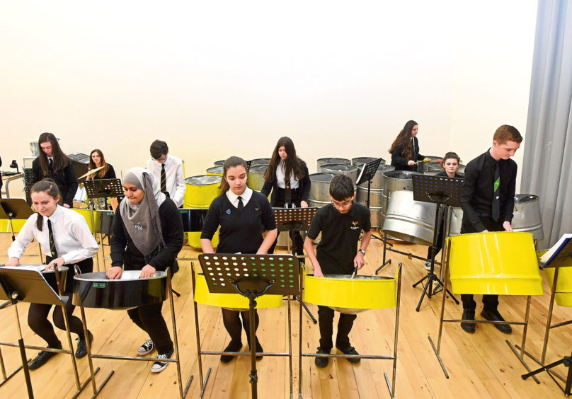 A Bucksburn Academy steel pan rehearsal for this year's event