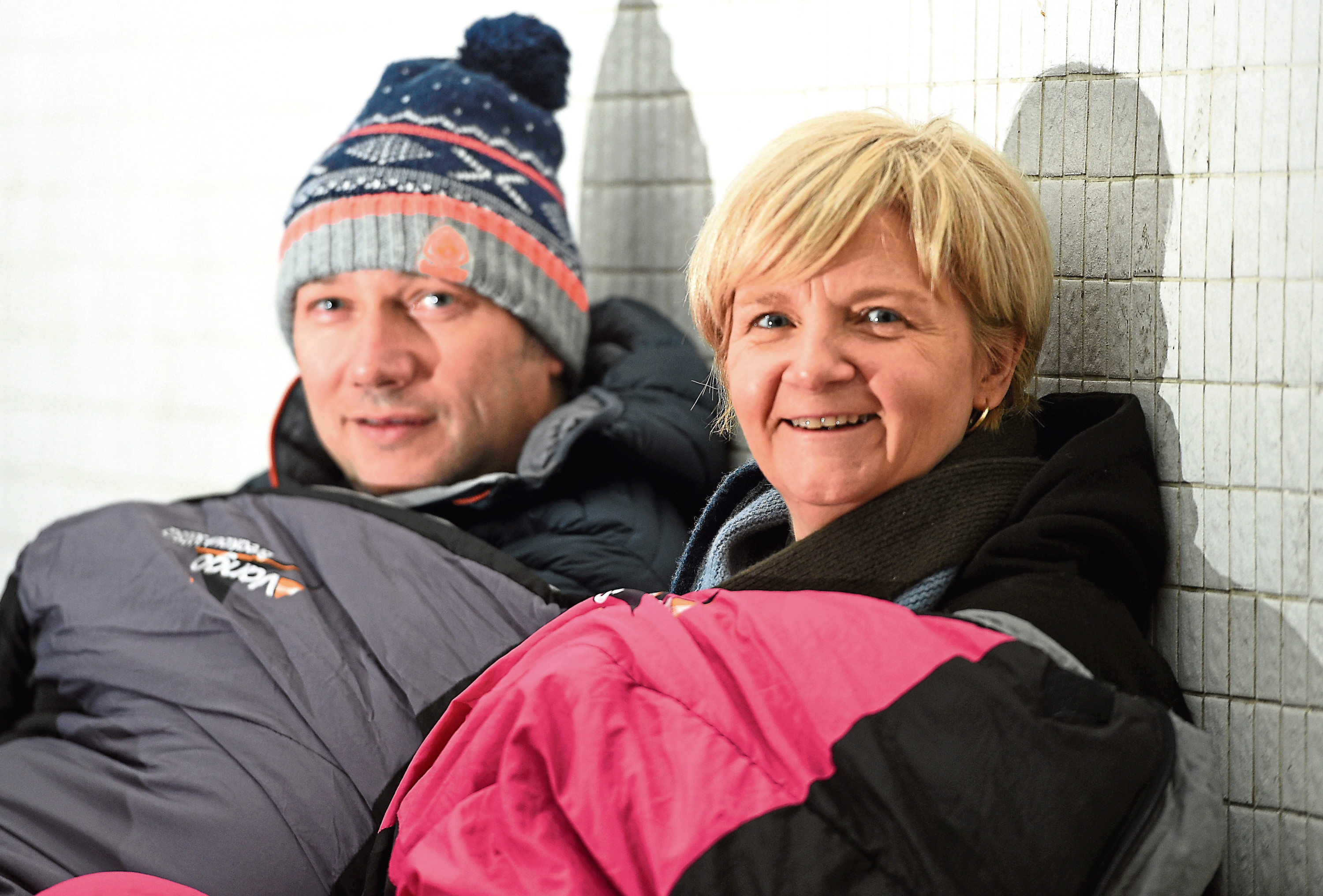 Pictured are Douglas Lumsden and Jenny Laing (both Aberdeen City Council co-leaders) ahead of the Big Sleep Out this weekend. Picture by DARRELL BENNS     Pictured on 06/12/2018