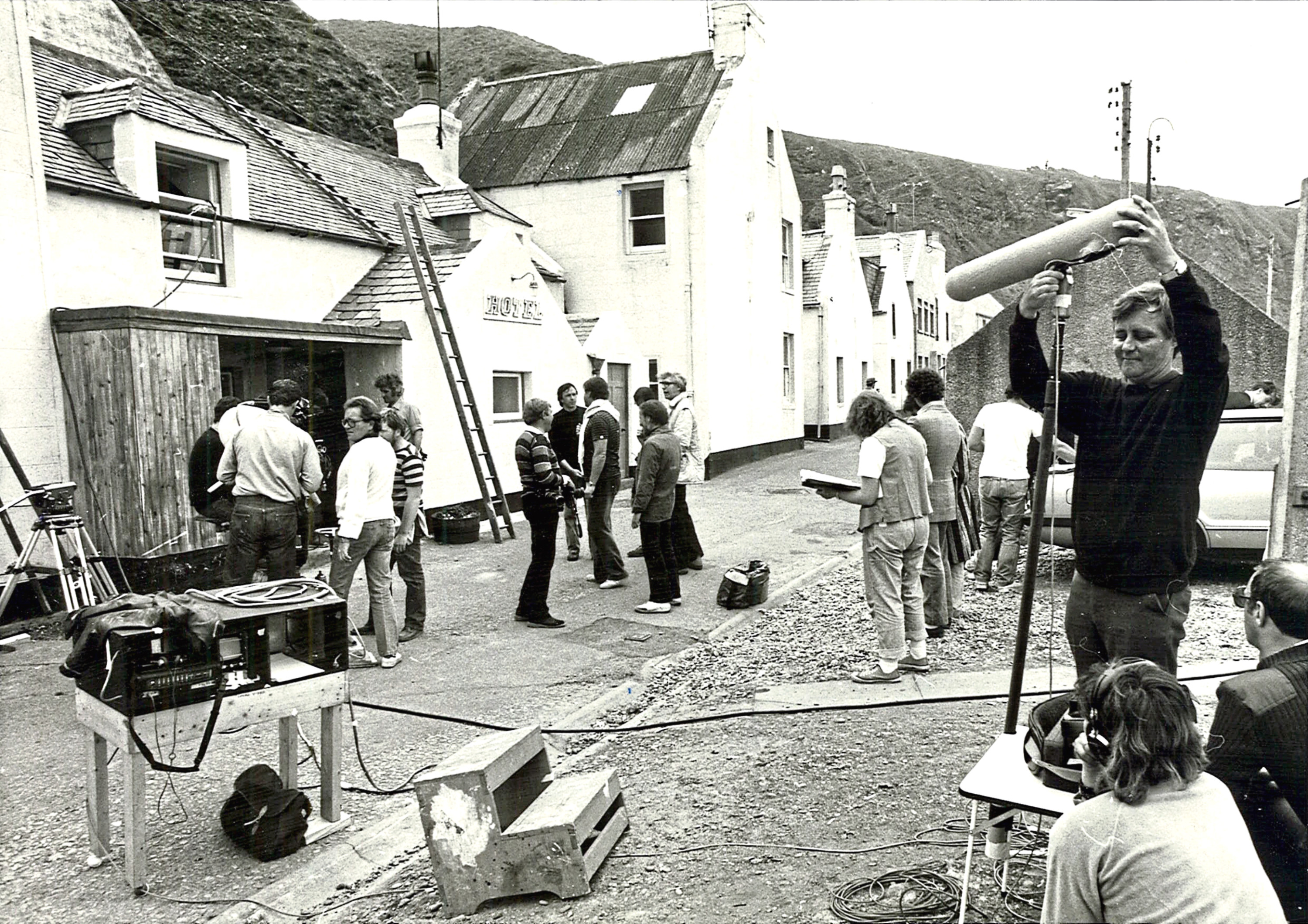 The picturesque fishing village of Pennan during the filming of Local Hero 7th June 1982    (Aberdeen Journals Ltd)