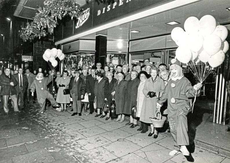 1984: Senior citizens from Westhill and Skene take a break from their shopping in Union Street to be entertained by clowns Edna McNeil and Wendy Richardson