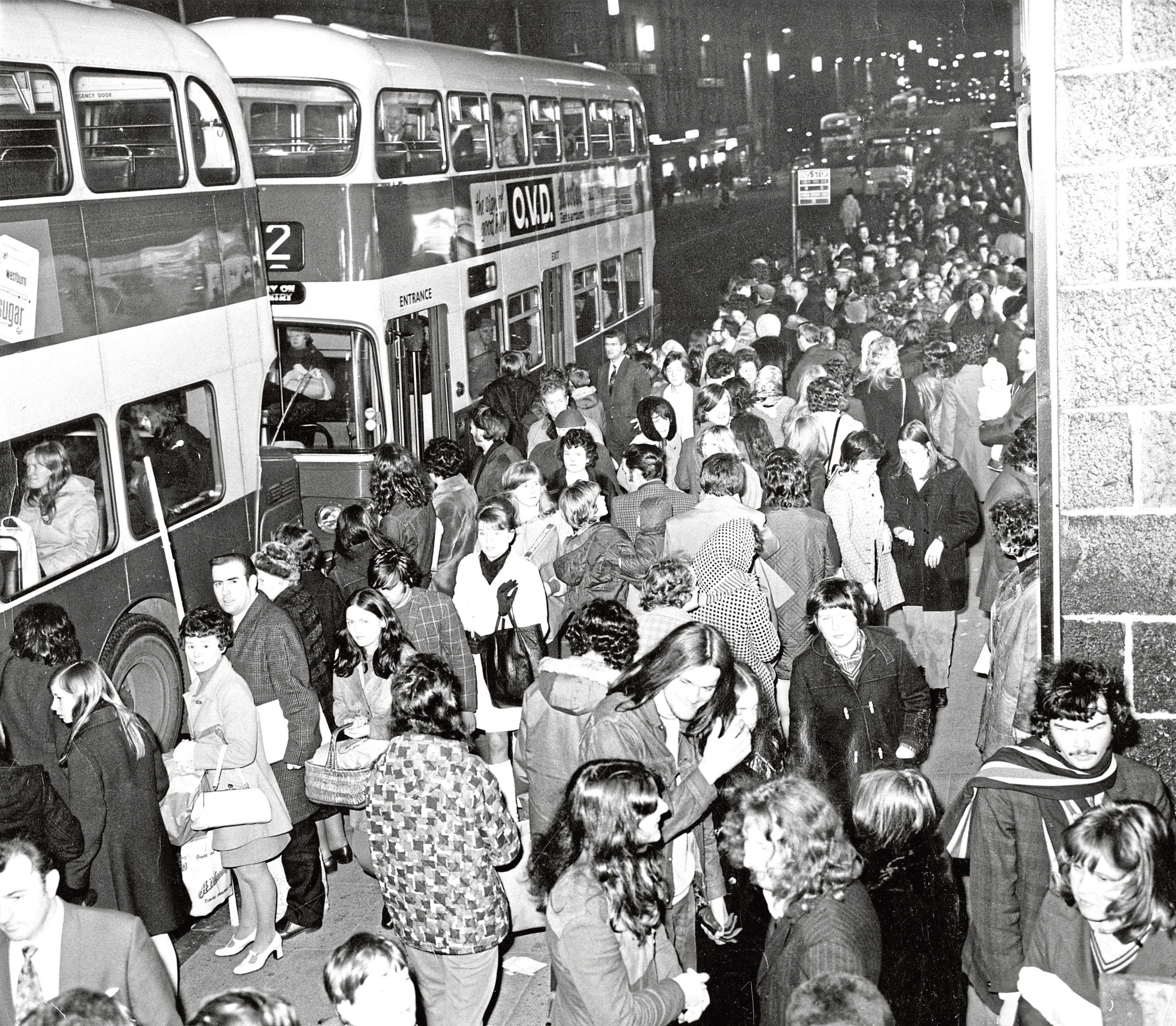 1971: Shoppers pack Aberdeen city centre on the last Saturday before Christmas in this picture taken in Union Street opposite Back Wynd