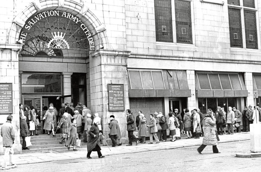 1987: The queue moves along smartly outside The Salvation Army Citadel in Aberdeen