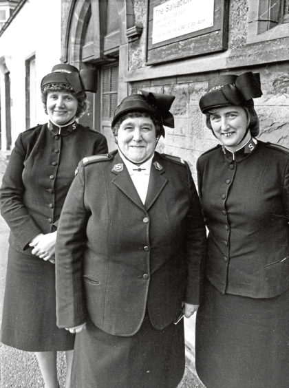 1982: Salvation Army members, from left, Captain Kay Flowers, Mary McKay and Major Miriam Gilchrist