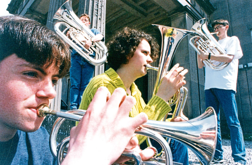 1996: Musicians tune up at the Salvation Army's Summer Music Show at Aberlour
