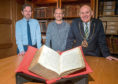 Archivist Phil Astley, Thomas Brochard, an honorary research fellow at Aberdeen University and Lord Provost Barney Crockett