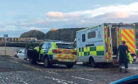 Emergency services at the scene yesterday