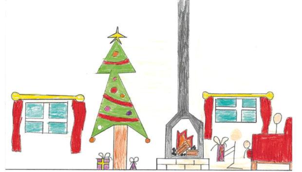 Alexander Burnetts Christmas card featuring artwork by Clatt Primary School pupil James Knox