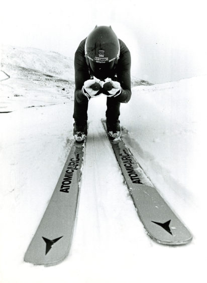 1985: The world's fastest female skier, Melissa Dimino, taking part in a speed skiing event at Glenshee