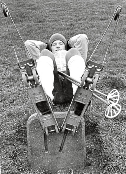1978: A well-earned rest for Nordic skier Jim Haughie after his sponsored run along the Beach Esplanade