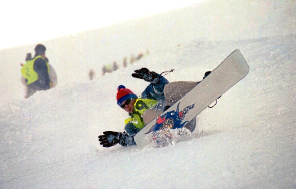 1995: Action from the first British Open Snowboarding Championships on Glenshee