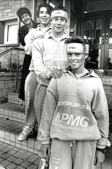 1990: Three members of the KPMG Scottish Ski Team show off their new tracksuits, donated by sponsors Peat Marwick McLintock