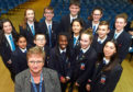 Aberdeen Grammar pupils with head teacher Alison Murison