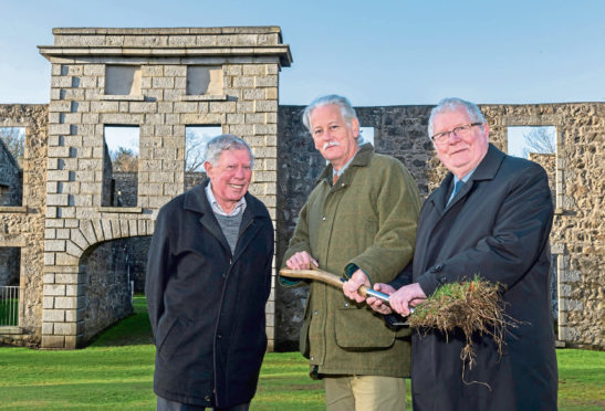 Ian Bosberry from the Friends of Aden, Councillor Peter Argyle, chair of infrastructure services committee, and Councillor Norman Smith, Chair of the Buchan area committee