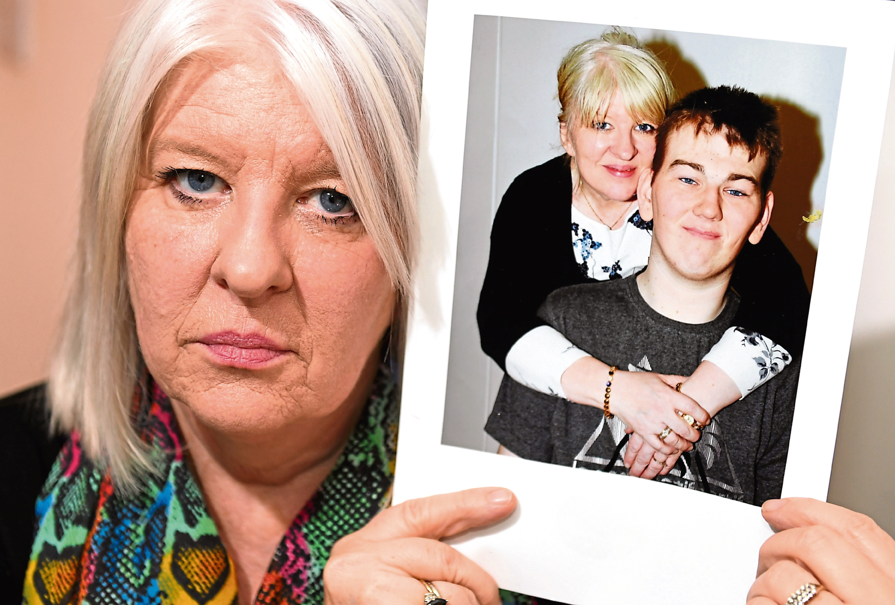 Tracey Gibbon, of Kemnay, and a picture of her with her son Kyle, who is in the state hospital at Carstairs