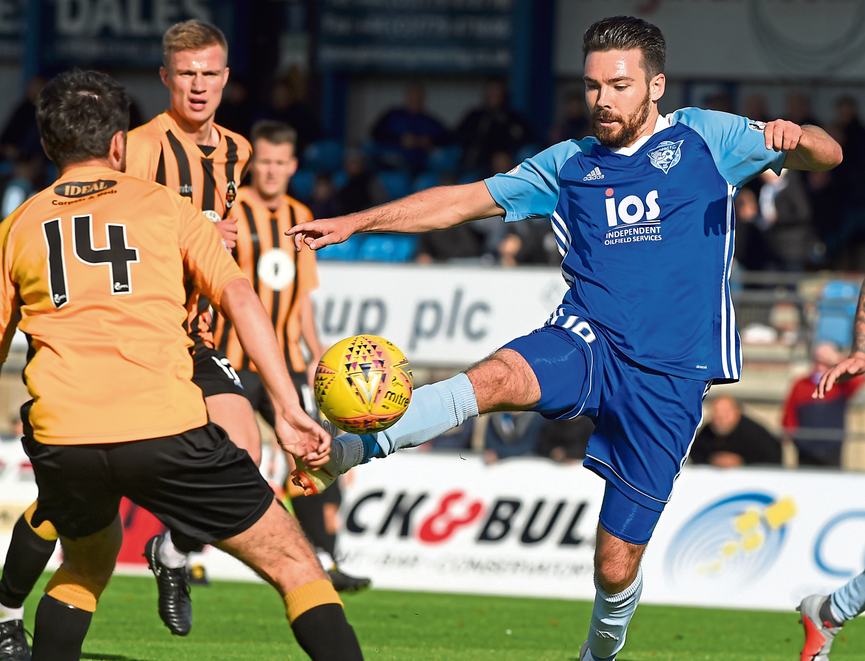 Ryan Down, right, in action for Peterhead.
