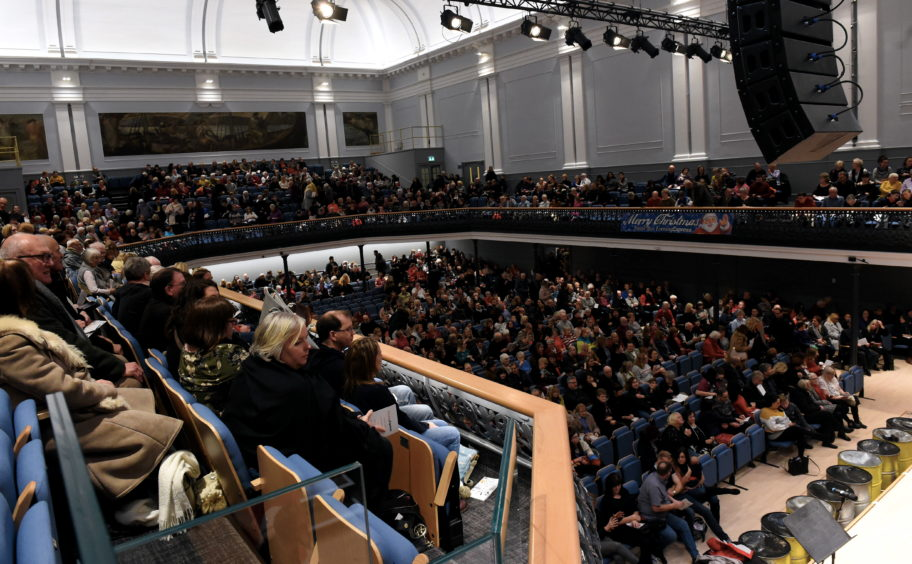 A general view of the crowds in the Music Hall
