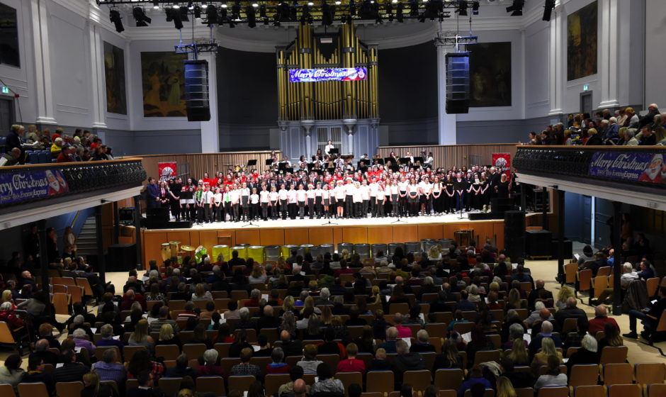 The view of the carol concert from the balcony