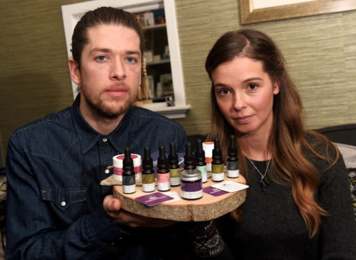 Calum and Rebecca Napier with some of their products