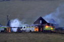 Scottish Fire and Rescue Service tackling a fire at Little Burns farm, Glenkindie, near Alford.
