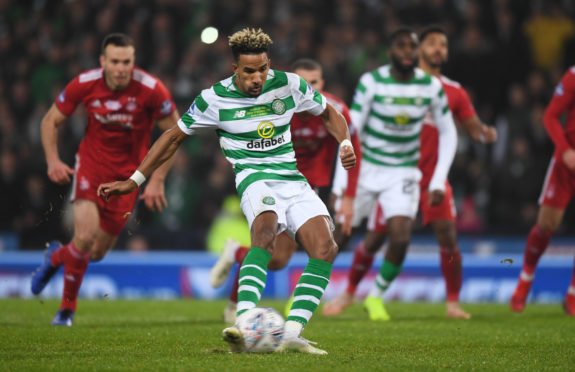 Celtic's Scott Sinclair misses a second half penalty in the Betfred Cup final at Hampden.