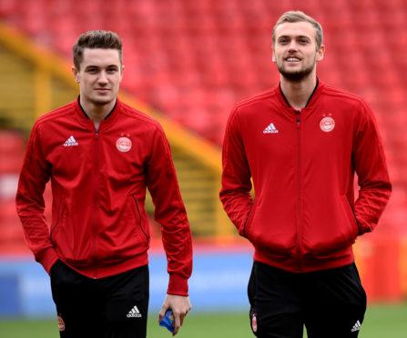 Aberdeen winger Scott Wright, left, and James Wilson.