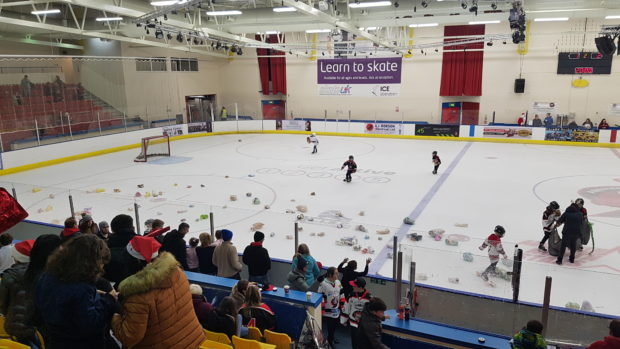 The teddy toss took place during Saturday night's game