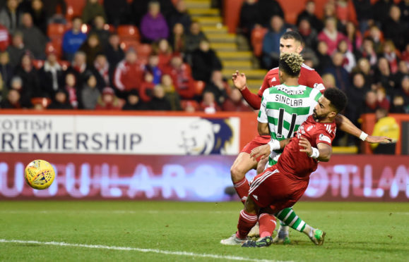 Celtic's Scott Sinclair scores his side's second goal of the game against Aberdeen.