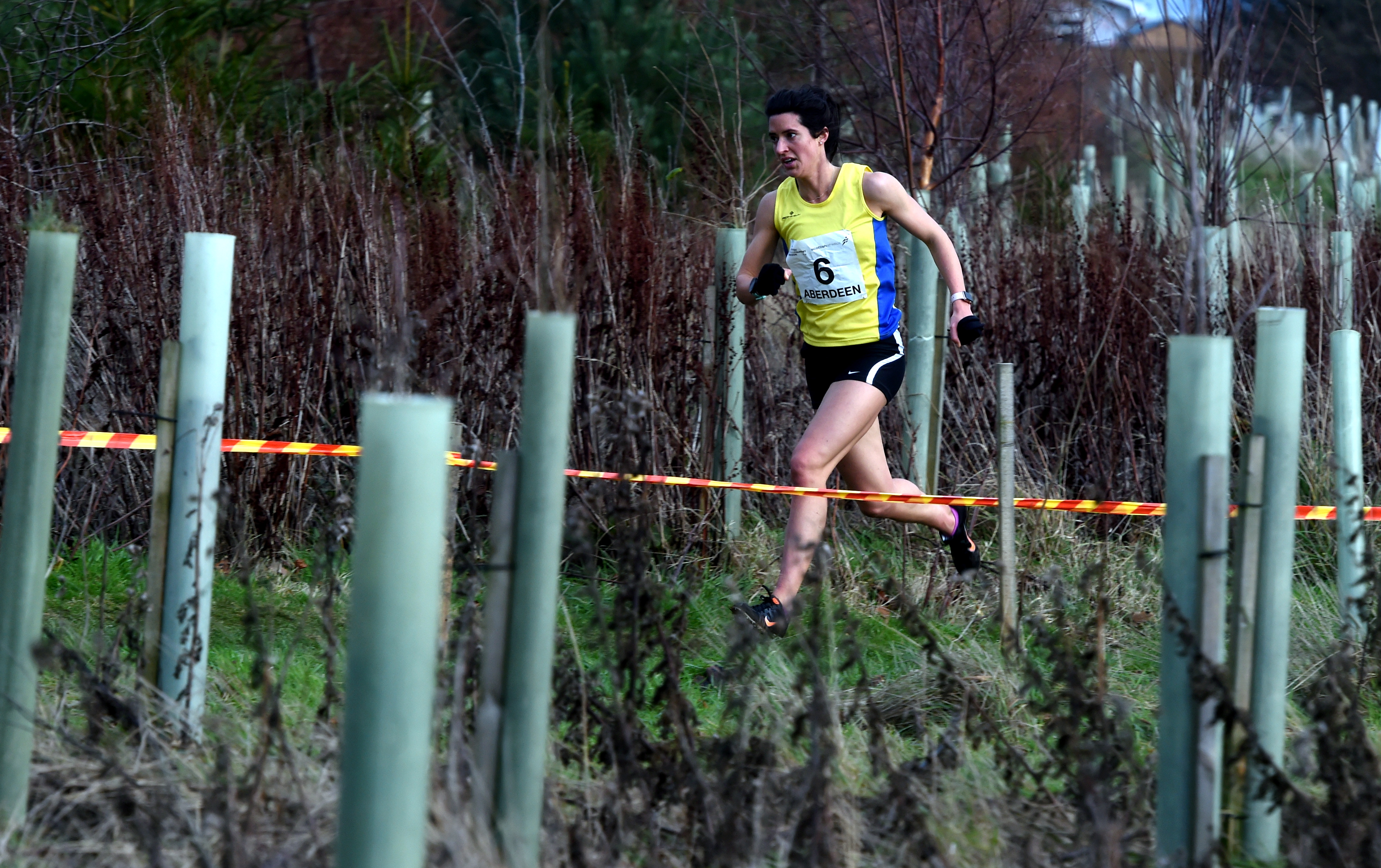 Morag Millar on her way to winning the the women's race at the Scottish Athletics east district cross country championships at Balgownie playing fields, Aberdeen.  Picture by Jim Irvine.