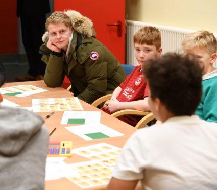 Aberdeen's Gary Mackay-Steven talking to year 7 pupils at Tullos School