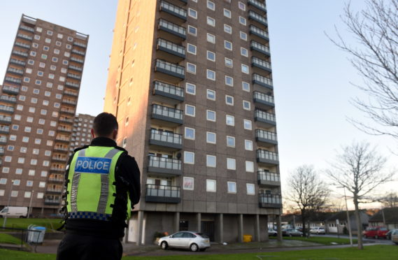 Police at Donside Court, Aberdeen.