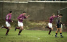 Stenhousemuir Tommy Steele, right, celebrates after scoring for the home side.