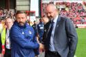 Aberdeen manager Derek McInnes shakes hands with Kilmarnock manager Steve Clarke.