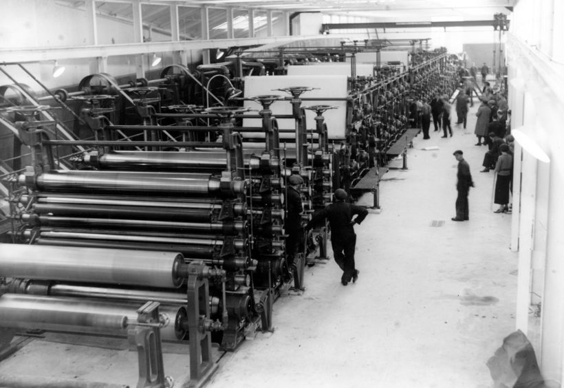 A scene from Stoneywood Paper Mills in 1935