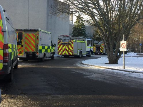 Emergency services at the scene in Aboyne