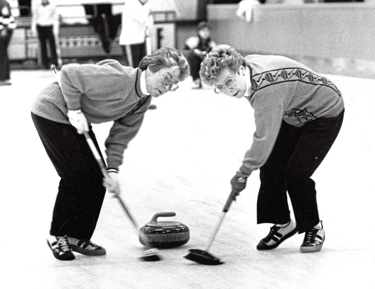 1990: Skip Betty Donald's sweepers hard at work during their opening game at Stoneywood